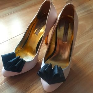 Ted Baker pink satin and black bow shoes
